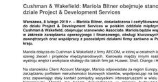 informacja prasowa_Cushman & Wakefield Mariola Bitner obejmuje stanowisko Associate w dziale Project & Development Services.pdf