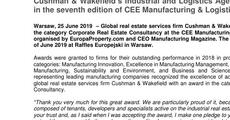 press release_Cushman & Wakefield's Industrial and Logistics Agency wins an award in the seventh edition of CEE Manufacturing & Logistics Awards.pdf