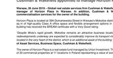 Press release_Cushman & Wakefield appointed to manage Horizon Plaza .pdf