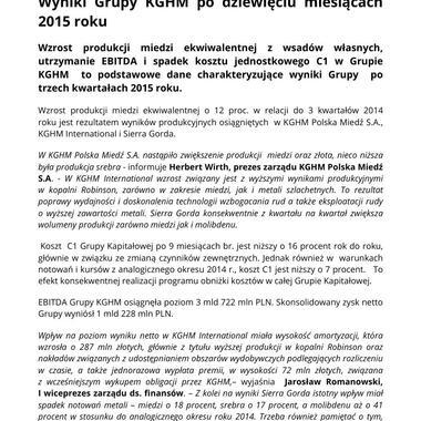 Wyniki Grupy KGHM po 9 miesiącach 2015