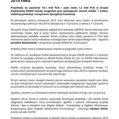 Wyniki Grupy KGHM po pierwszym półroczu 2015 roku