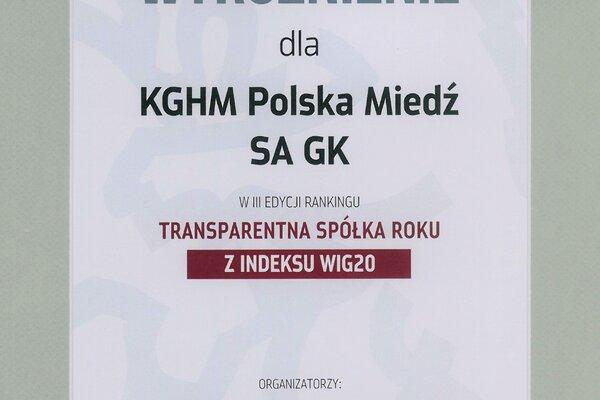 KGHM Transparentna Spółka Roku
