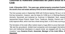 press release_Cushman & Wakefield celebrates ten years since its first transaction in Łódź.pdf