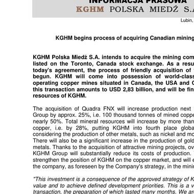 KGHM begins process of acquiring Canadian mining company - 06 December 2011