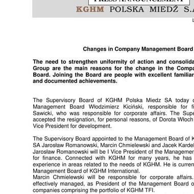 Changes in Company Management Board