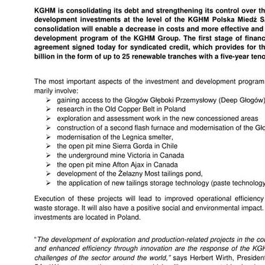 Financial consolidation of investments by the KGHM Group