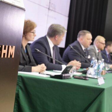 Zarząd KGHM podczas prezentacji wyników