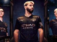Historyczne elementy miasta na wyjazdowej koszulce  Manchesteru City