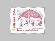 Prace młodych artystów na znaczkach pocztowych