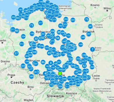 Mapa zgłoszeń z Polski na konkurs 1920. Numery oznaczają numer nadesłanego zgłoszenia. Oprócz Polski prace nadesłano m.in. z Hiszpanii, Wielkiej Brytanii, Niemiec czy Kanady.