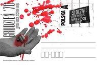 Krople krwi na karcie pocztowej upamiętniającej wydarzenia Grudnia '70
