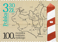 Znaczek upamiętniający traktat kończący wojnę polsko-bolszewicką