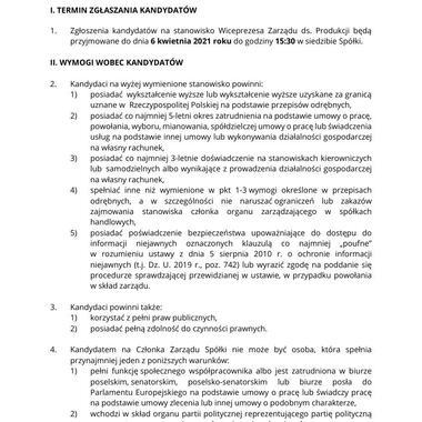 Ogłoszenie postępowania kwalifikacyjnego na Wiceprezesa Zarządu KGHM Polska Miedź S A  ds  Produkcji