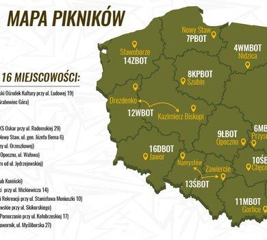 Mapa pikników WOTgames z adresami