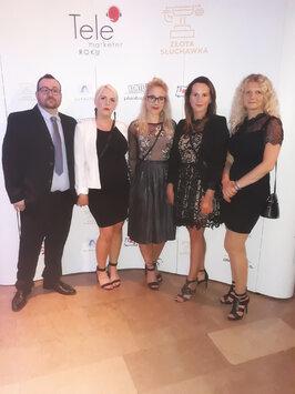 Gala Telemarketer 2018. Od lewej -Radosław Dębowski, Beata Woźniak (finalistka), Hanna Kowalczyk, Mo