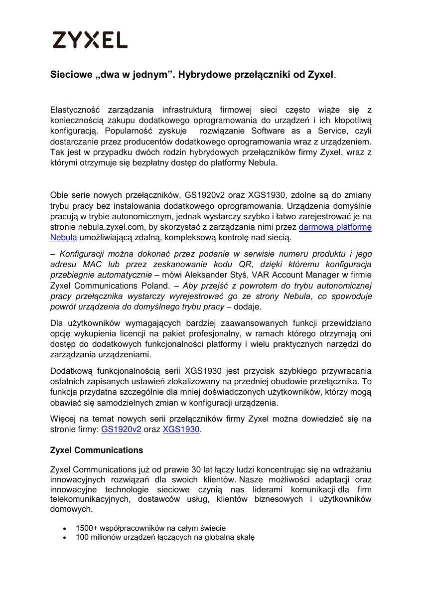 Hybrydowe przełączniki od Zyxel_Informacja Prasowa.pdf