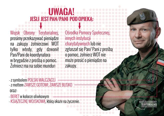 Uwaga, próba wyłudzeń na żołnierza WOT