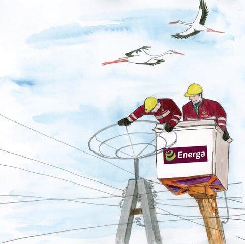 Energetycy montują platformę pod bocianie gniazdo - ilustracja z książeczki