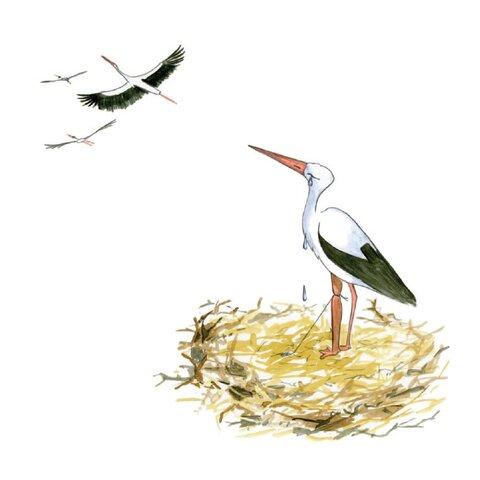 Bocian uwięziony w gnieździe przez sznurek - ilustracja z książeczki