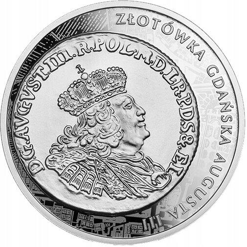 20 zł. Historia Monety Polskiej. Awers złotówki gdańskiej Augusta III (1762-1763), mat. NBP.jpg preview