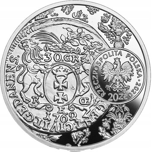 20 zł. Historia Monety Polskiej. Rewers złotówki gdańskiej Augusta III (1762-1763), mat. NBP.jpg preview