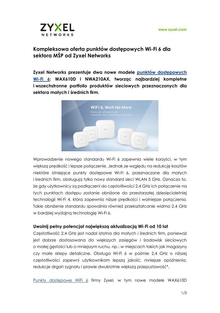Zyxel Networks_ PR_Wi-Fi 6 AP_WAX610D i NWA210AX.pdf
