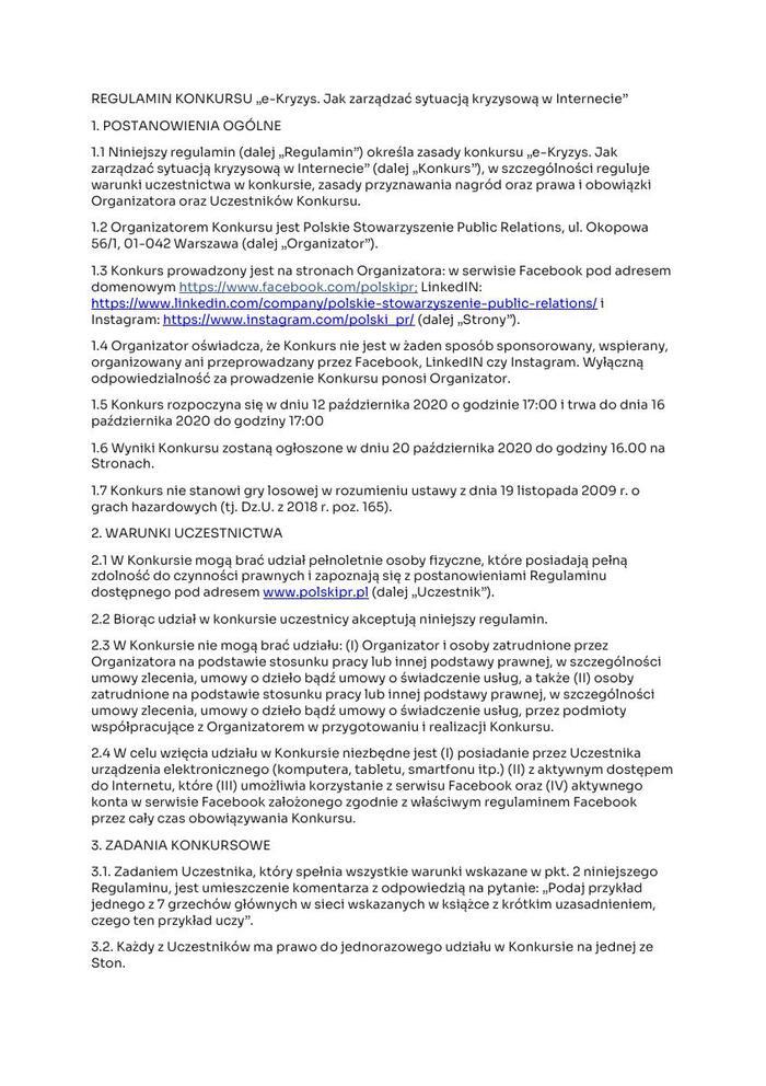 """REGULAMIN KONKURSU """"e-Kryzys. Jak zarządzać sytuacją kryzysową w Internecie"""".pdf"""