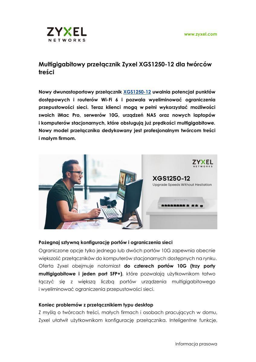 Zyxel Networks PR Nowy multigigabitowy przełącznik XGS1250-12