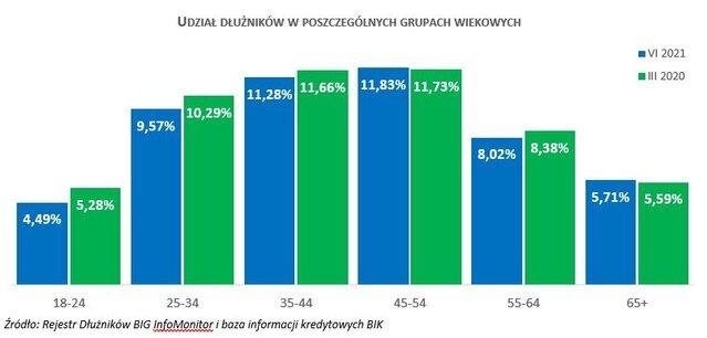 Zaległości seniorów przekroczyły 10 mld zł - wykres słupkowy, udział dłużników w poszczególnych grupach wiekowych.