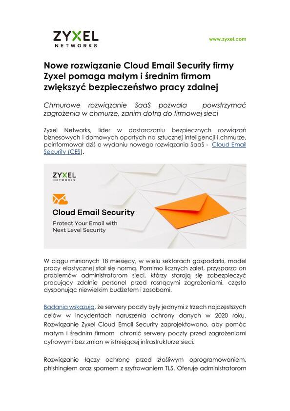 Zyxel PR Cloud Email Security