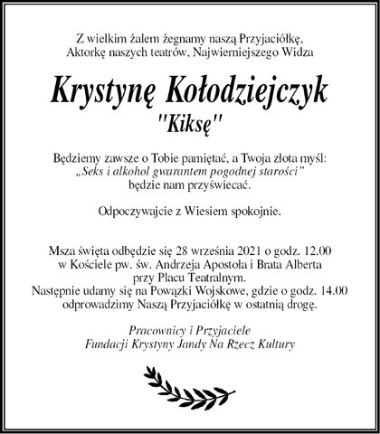 nekrolog Krystyny Kołodziejczyk-Szyszko