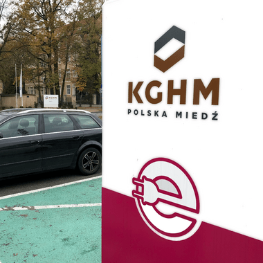 electric car charging station at KGHM's headquarters in Lubin
