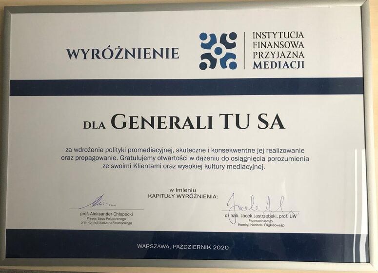 Instytucja Przyjazna Mediacji Dyplom