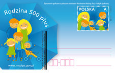 Rodzina 500 plus: Poczta Polska wydała specjalna kartkę pocztową ze znakiem opłaty