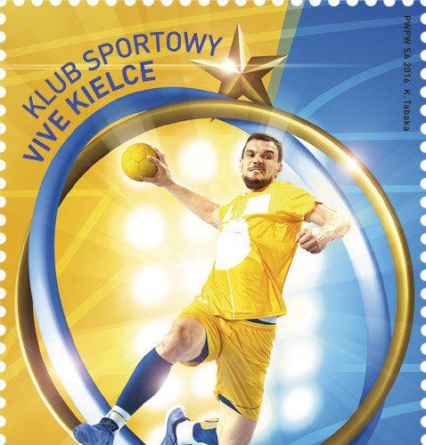 """Poczta Polska:  Znaczki emisji """"Klub sportowy Vive Kielce"""""""
