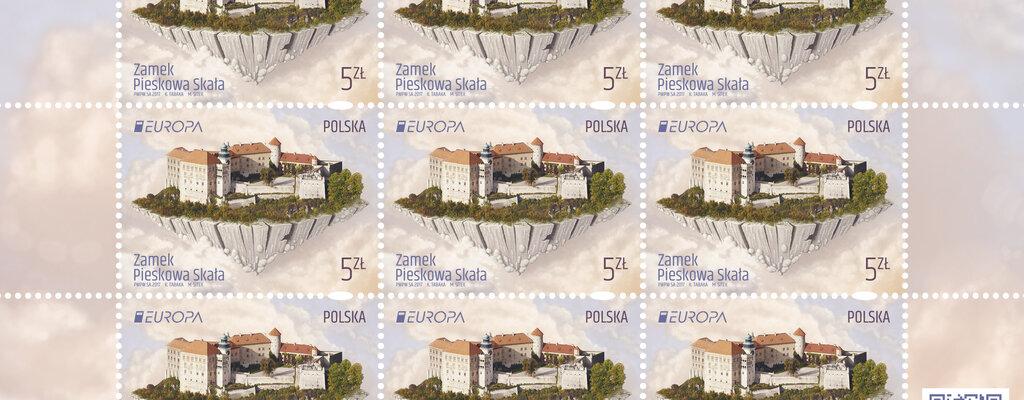 """Poczta Polska: Zamek Pieskowa Skała trafił na znaczek serii """"Europa"""""""