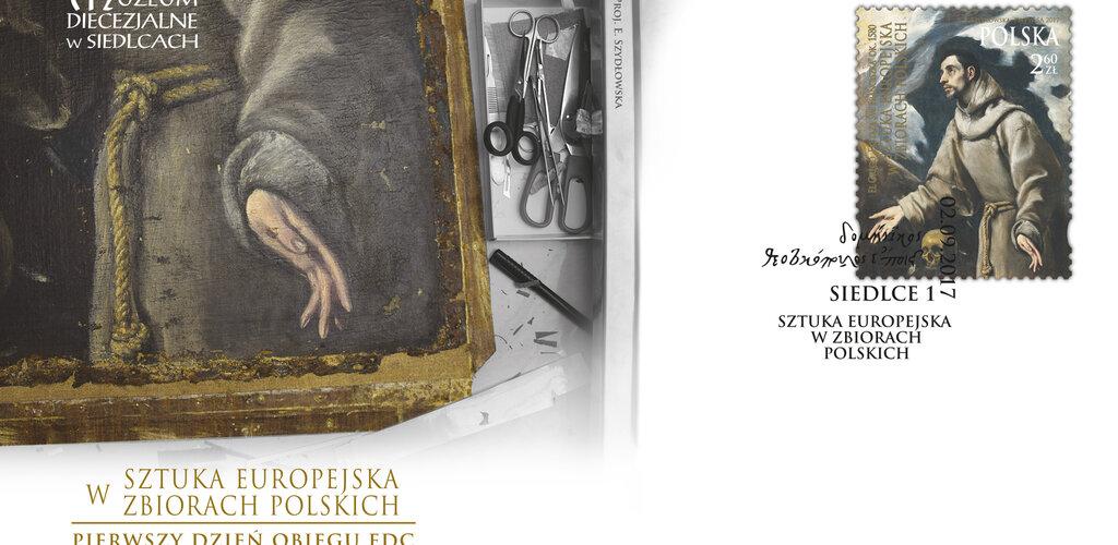 """Poczta Polska: w serii """"Sztuka europejska w zbiorach polskich"""" znaczek z reprintem  obrazu  El Greco """"Ekstaza św. Franciszka"""""""