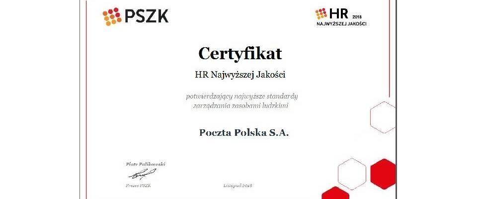 """Poczta Polska laureatem """"HR Najwyższej Jakości"""""""