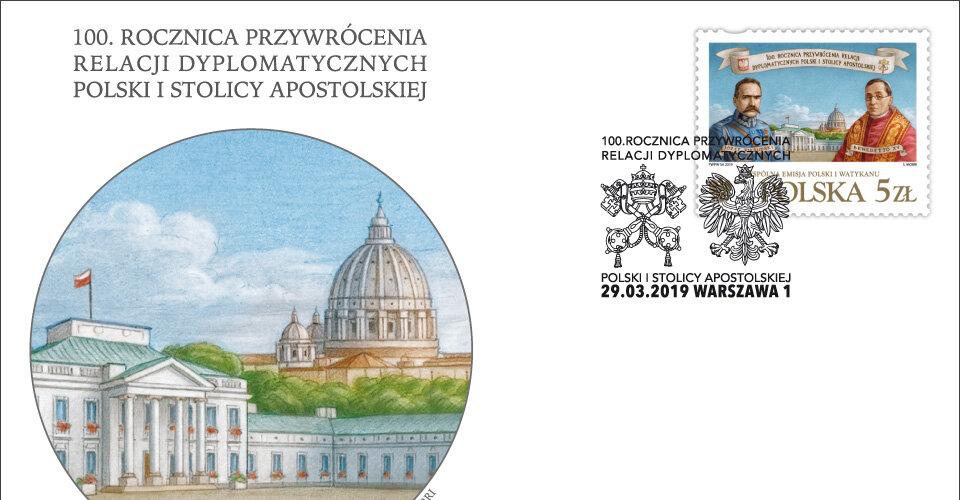 Wspólny znaczek Poczty Polskiej i Watykańskiej z okazji 100. rocznicy przywrócenia relacji dyplomatycznych Polski i Stolicy Apostolskiej