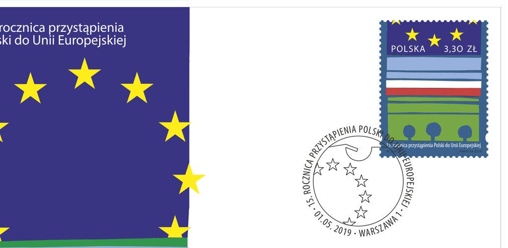 Poczta Polska uczciła 15. rocznicę wstąpienia Polski do UE okolicznościowym znaczkiem