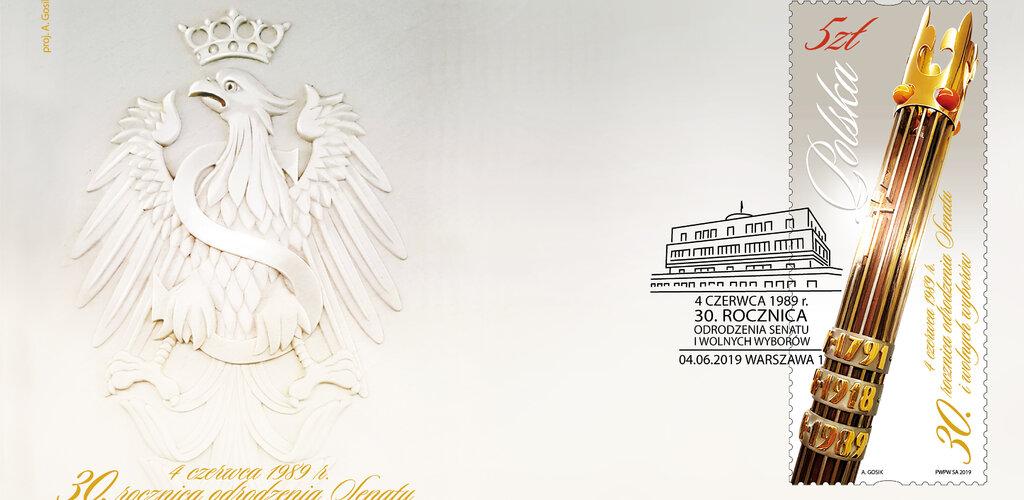 Poczta Polska wyemitowała znaczek z okazji 30. rocznicy wolnych wyborów do odrodzonego Senatu