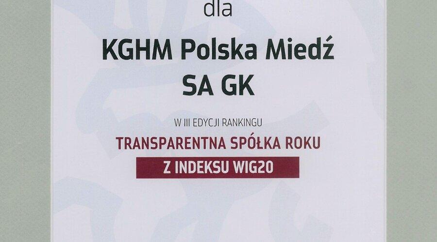 KGHM Polska Miedź S.A. z wyróżnieniem dla transparentnej spółki roku