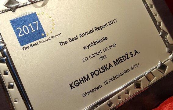 THE BEST OF THE BEST za Raport Roczny oraz pierwszy raz wyróżnienie za Raport Zintegrowany on-line