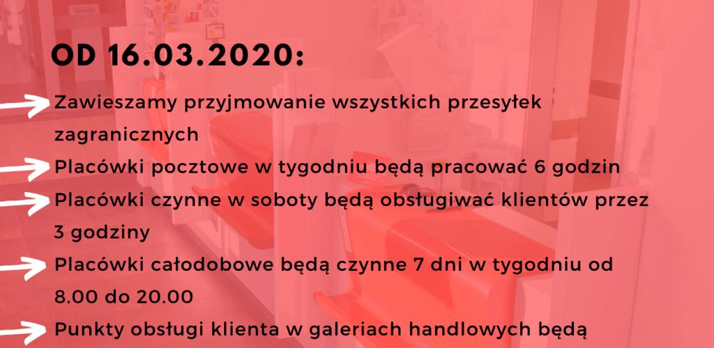 Poczta Polska dostosowuje się do ograniczeń związanych z wprowadzeniem stanu zagrożenia epidemicznego