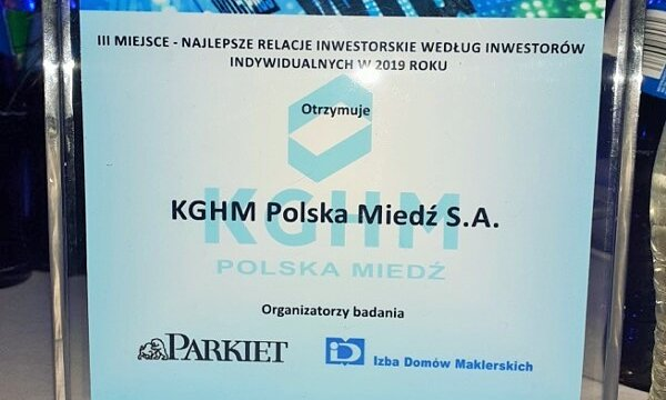 KGHM wyróżniony przez inwestorów indywidualnych za 2019 r.