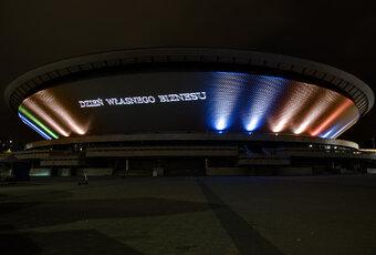 Unikatowa projekcja świetlna na fasadzie katowickiego Spodka z okazji międzynarodowego Dnia Własnego Biznesu