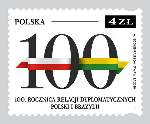 Znaczek na 100. rocznicę nawiązania stosunków dyplomatycznych Polski i Brazylii