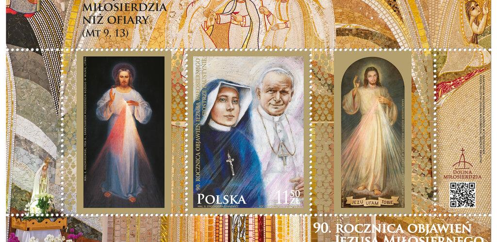 Znaczek upamiętniający objawienia siostry Faustyny