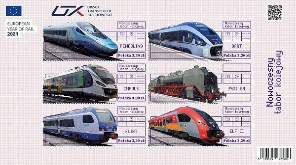 Nowoczesne pociągi na znaczkach - promujemy ekologiczną kolej