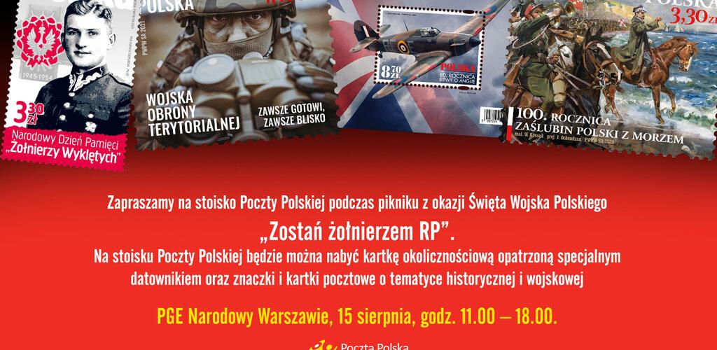 Poczta Polska przygotowała stoisko na piknik podczas obchodów Święta Wojska Polskiego